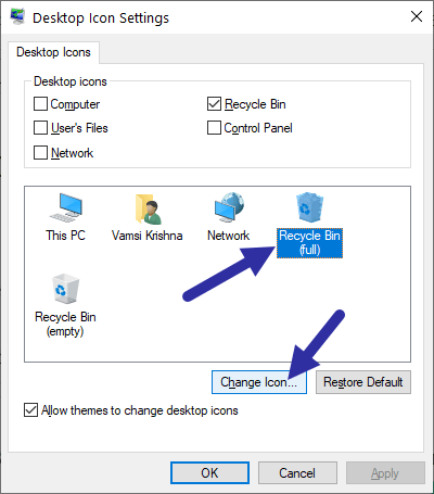Windows 10 recycle bin - select recycle bin full icon-min