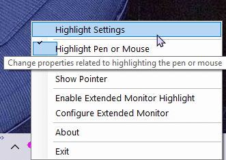Windows cursor highlight - pa settings