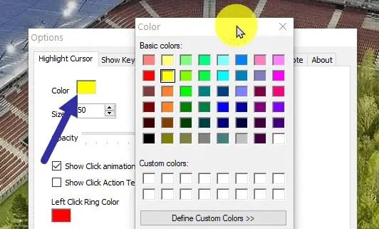 Windows cursor highlight - pf color