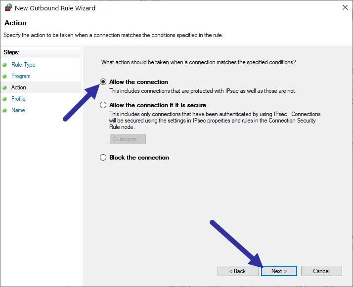 Windows firewall - allow