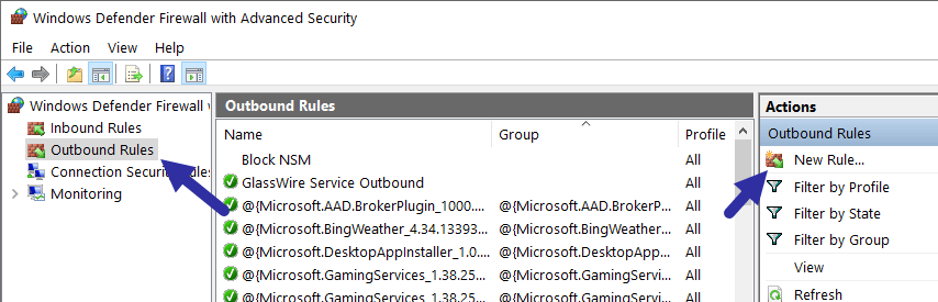Windows firewall - new outbound rule