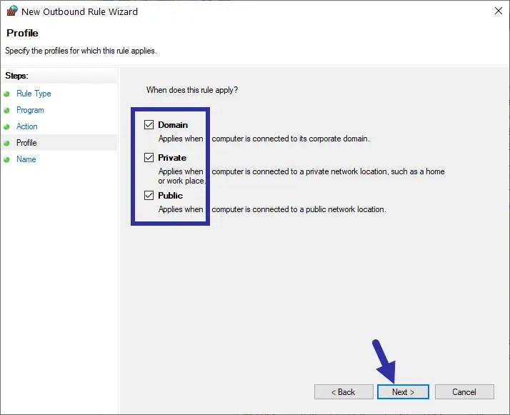 Windows firewall - select profiles