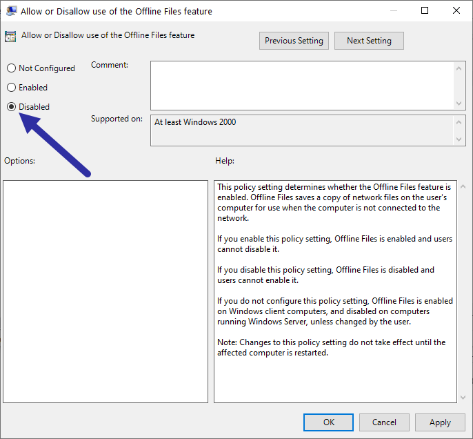 Windows sync center - disable policy