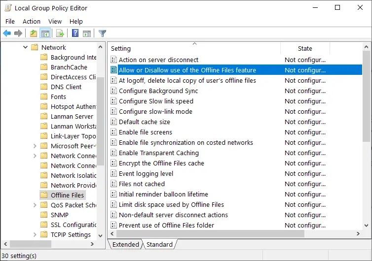 Windows sync center - open policy