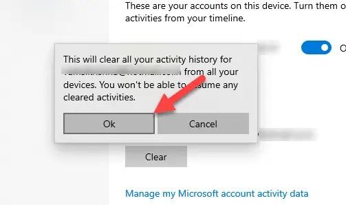 Clear windows 10 timeline activity - confirm clear