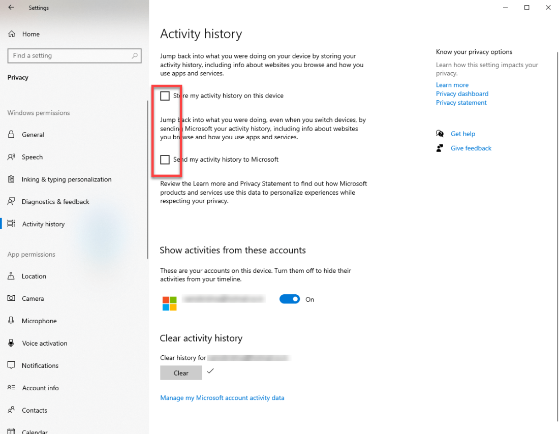 Clear windows 10 timeline activity - uncheck