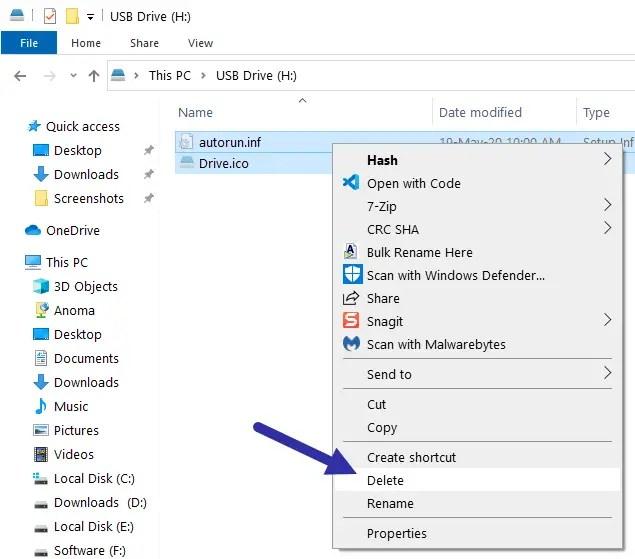 Custom usb drive icon - delete