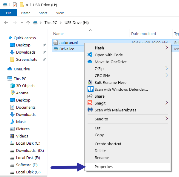 Custom usb drive icon - select properties