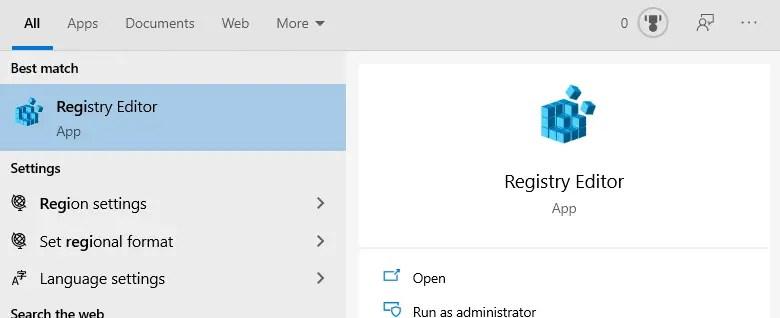 Remove lockscreen blur windows 10 - open registry