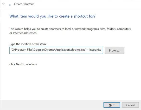 create incognito mode desktop shortcut