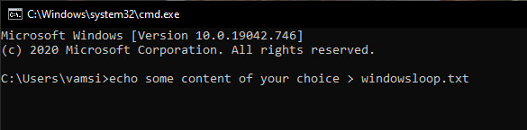 echo command to create new file in command prompt