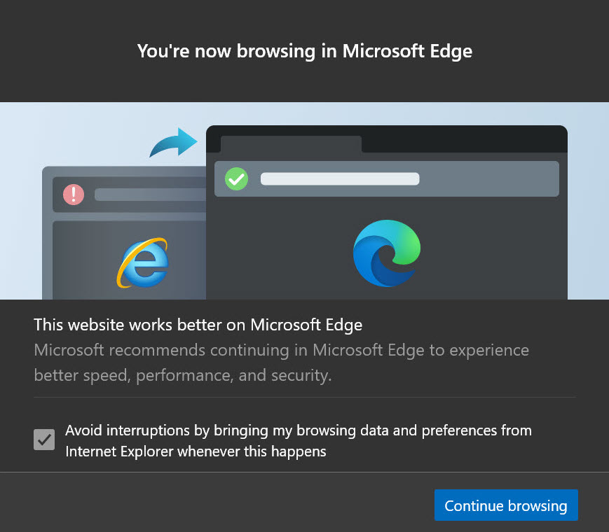 Internet Explorer to Edge redirect message
