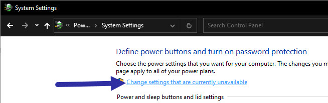 change admin power options