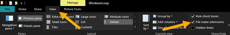 select file name extensions
