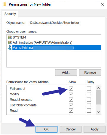 give full control permissions