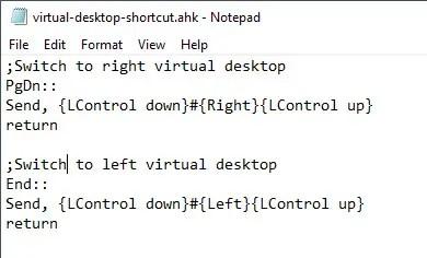 change virtual desktop shortcut