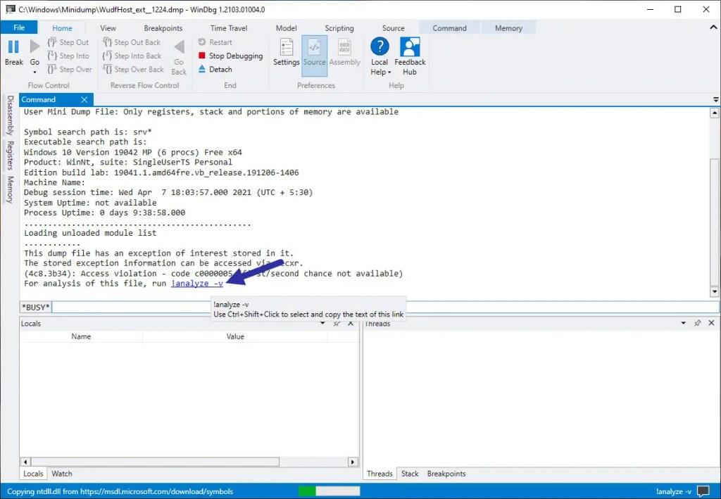 analyze dump file in WinDbg tool