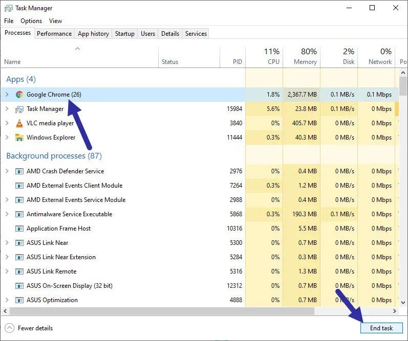 kill Chrome process