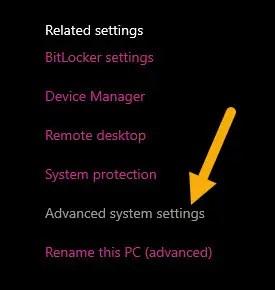 open advance system settings