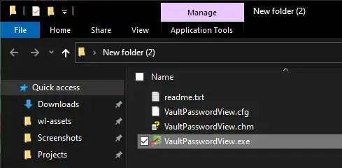 open VaultPasswordView application
