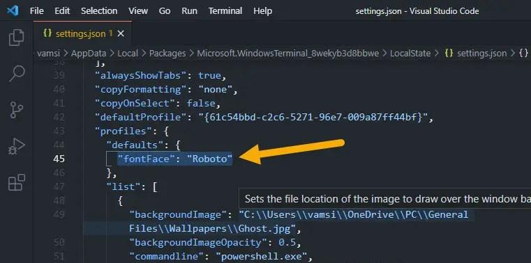 change global default font in Windows terminal