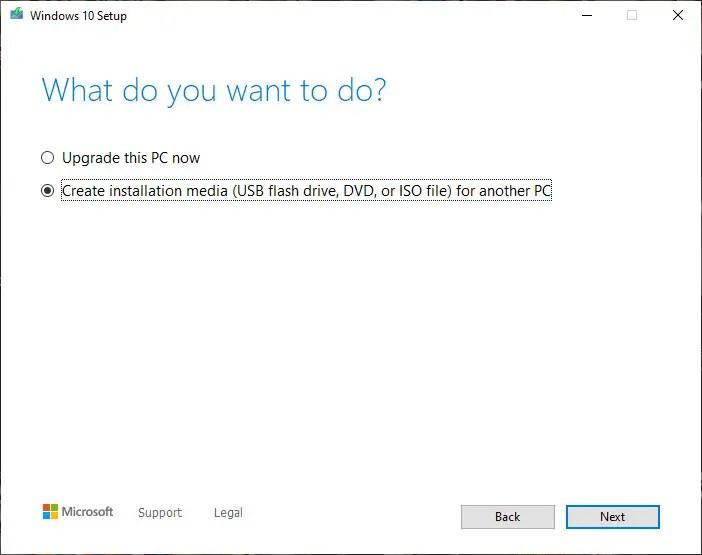 select create installation media option