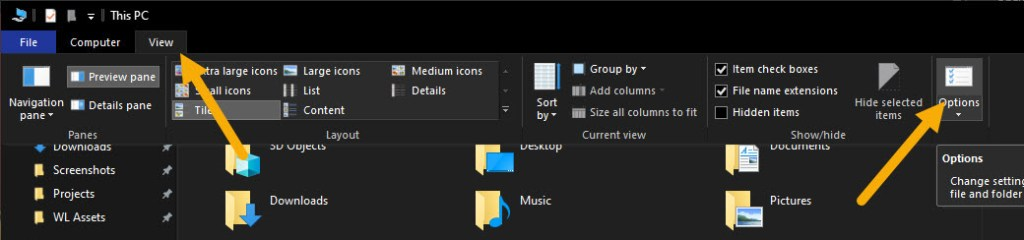 open File Explorer options