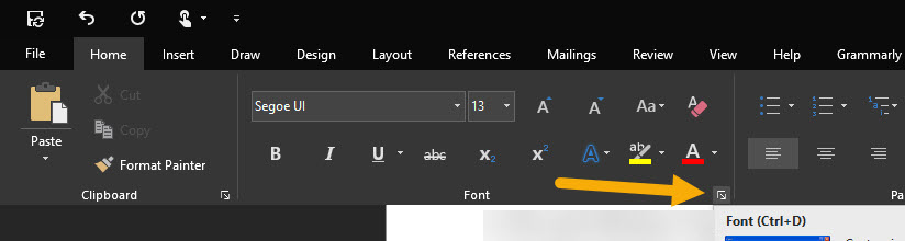 open Word font options