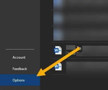 open word options