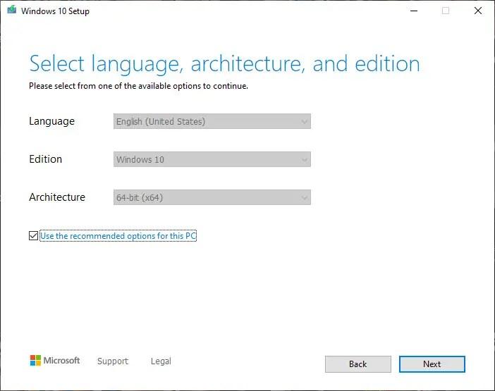 select Windows 10 edition