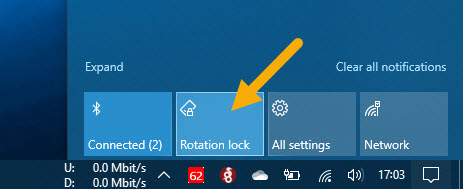 working rotation lock in Windows 10