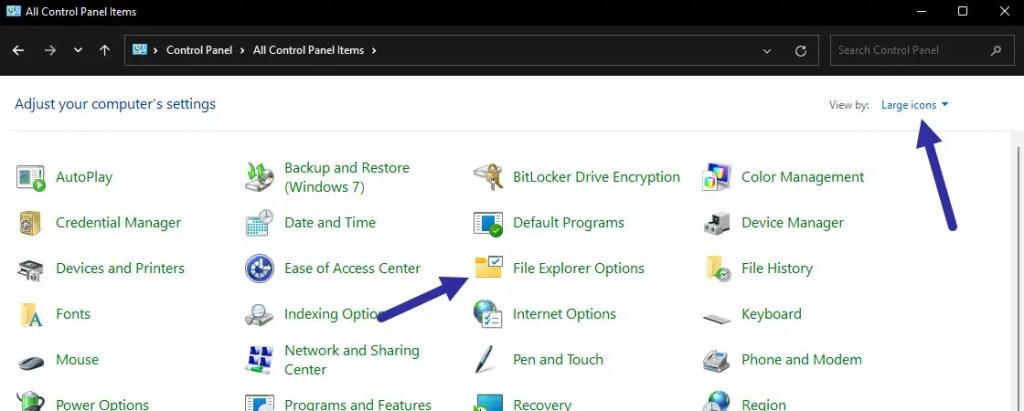 folder options in control panel