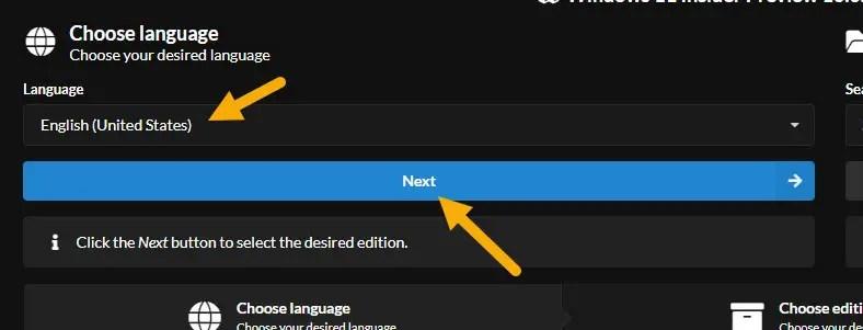 select Windows 11 iso language