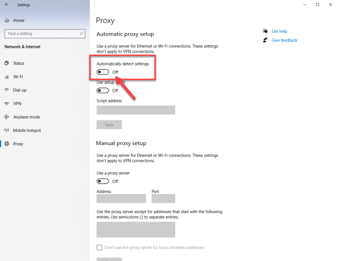 Turn off automatically detect settings chrome