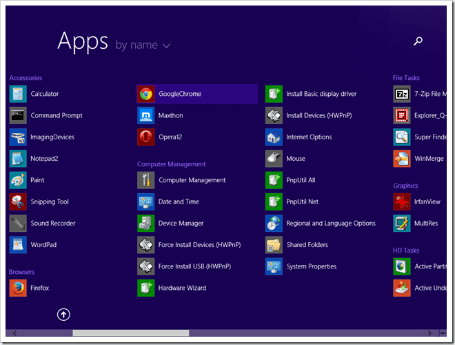 Start Screen displaying Apps by name