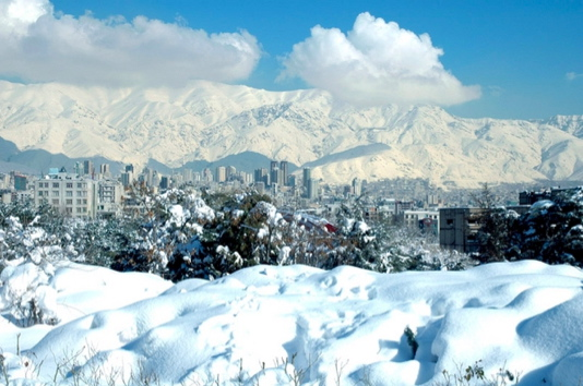 A snowy day in Tehran (see below for more recent images from Tehran).
