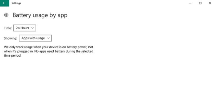 battery usage by app windows 10
