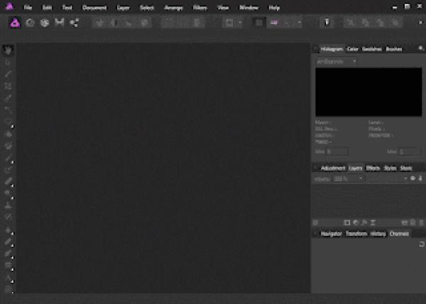 Affinity Photo User Interface Dark theme