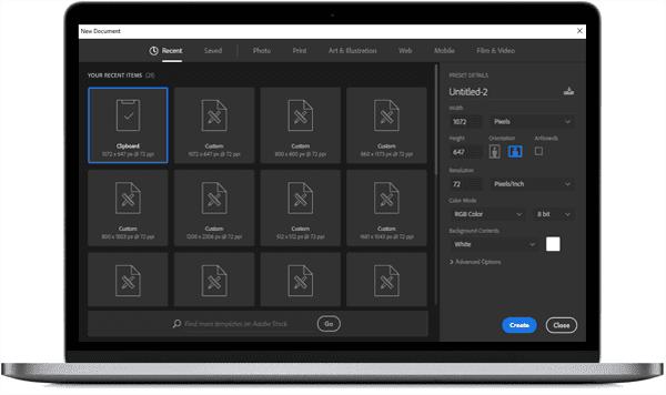 adobe photoshop cc 2018 new document window