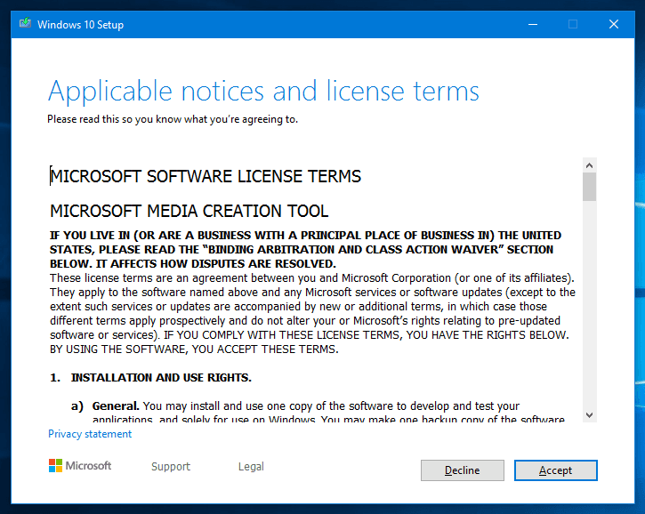Accept EULA license agreement