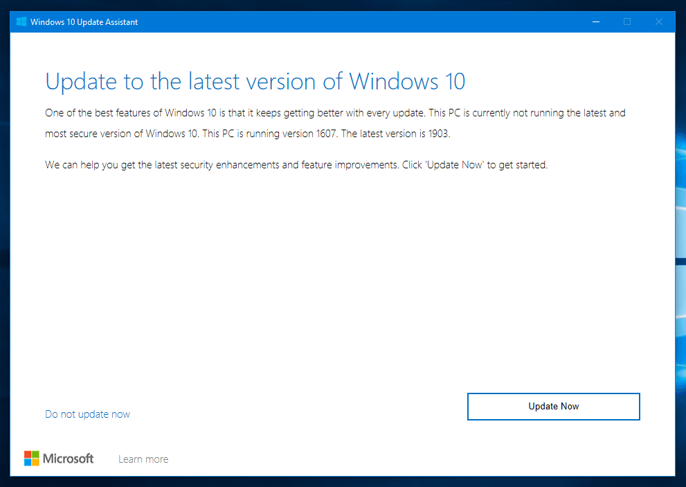 Install Upgrades using Windows 10 Update Assistant