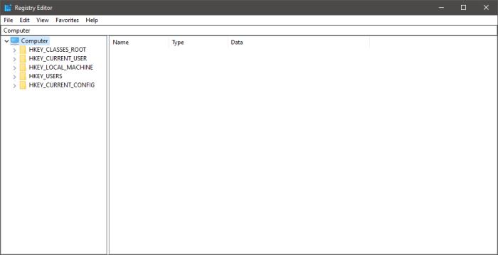 regedit Registry Editor in Windows 10