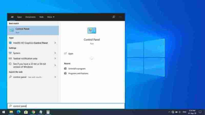 1-search and open Control Panel in Windows 10