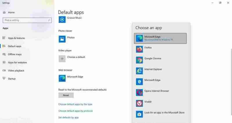 2-Choose default web browser app