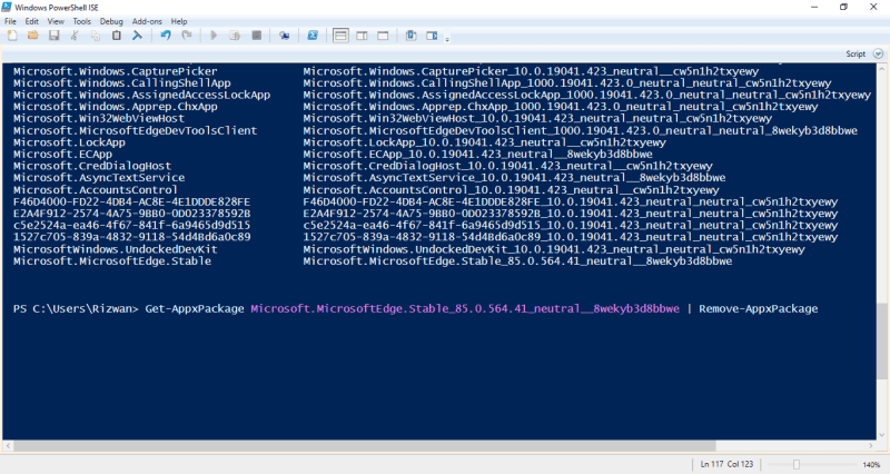 4-remove MS Edge appx using PowerShell