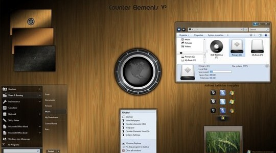 Counter Elements Windows 7 Theme 3rd Party