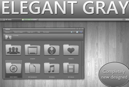 Download Free Elegant GRAY Windows 7 Theme 3rd Party