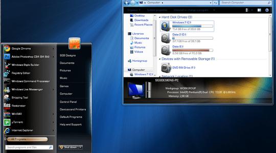 SteelFlash Reborn Windows 7 Theme 3rd Party