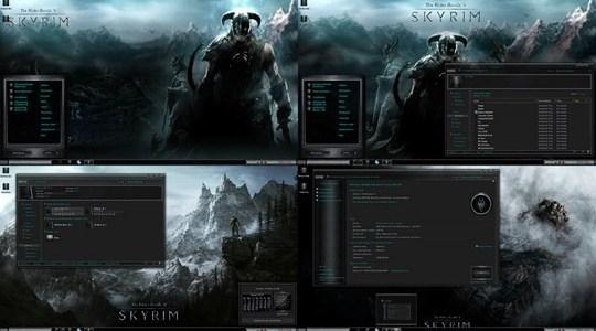 Skyrim Elder Scrolls Cold Steel Windows 7 Theme suite