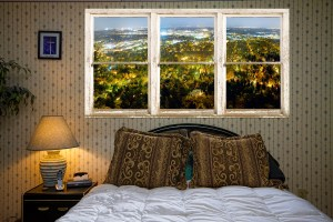 Picture window frame city lights fine art photography